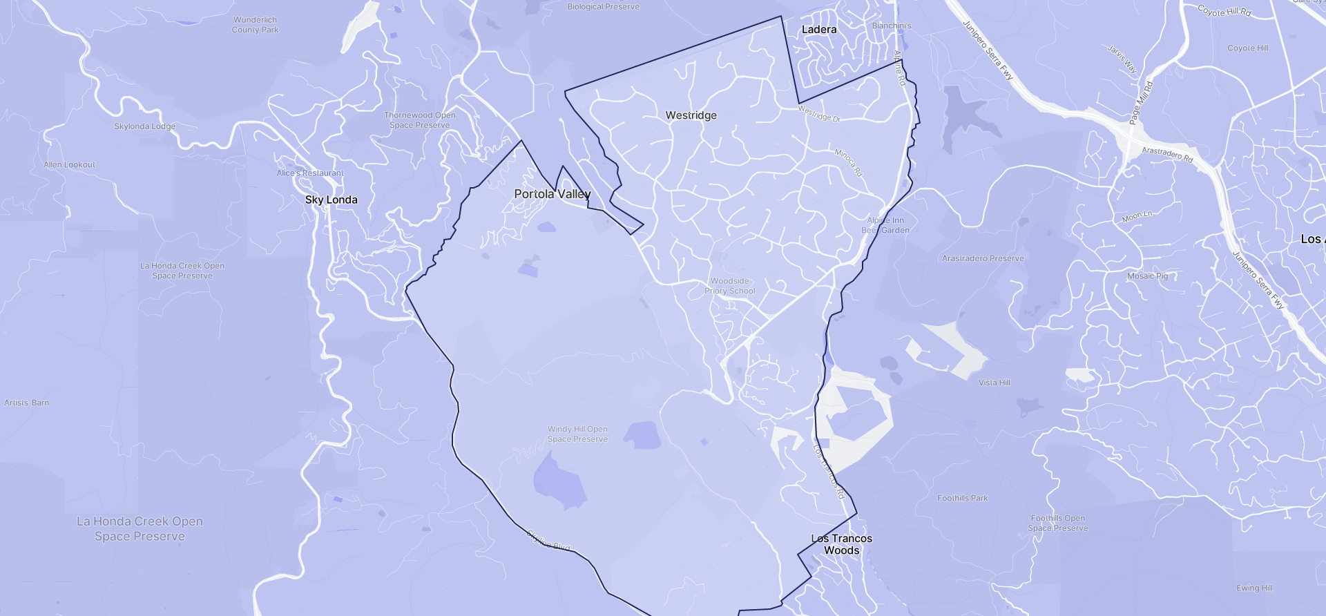 Image of Portola Valley boundaries on a map.