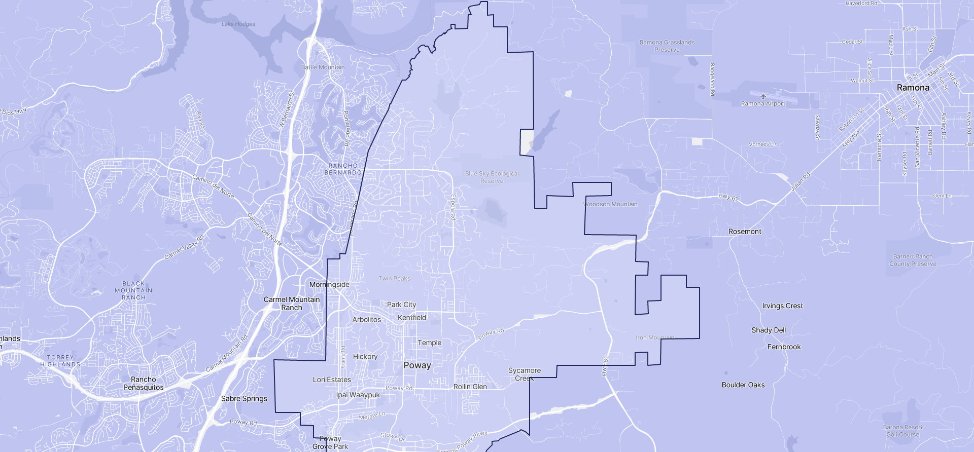 Image of Poway boundaries on a map.