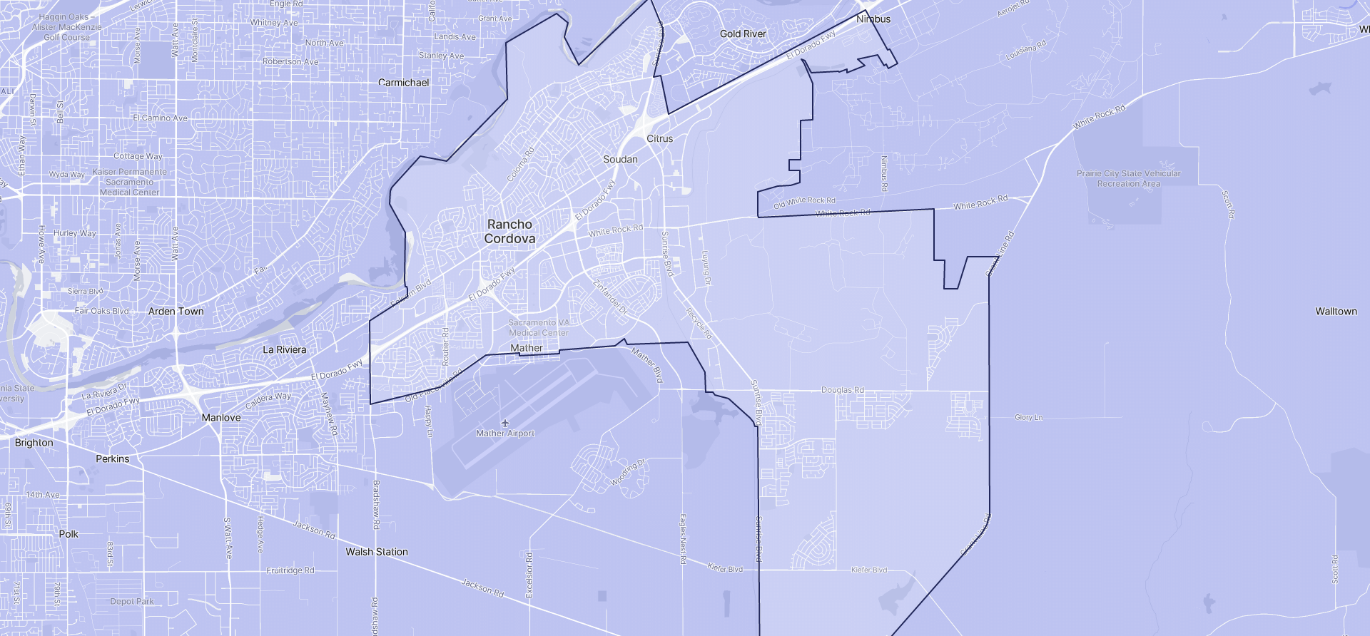 Image of Rancho Cordova boundaries on a map.