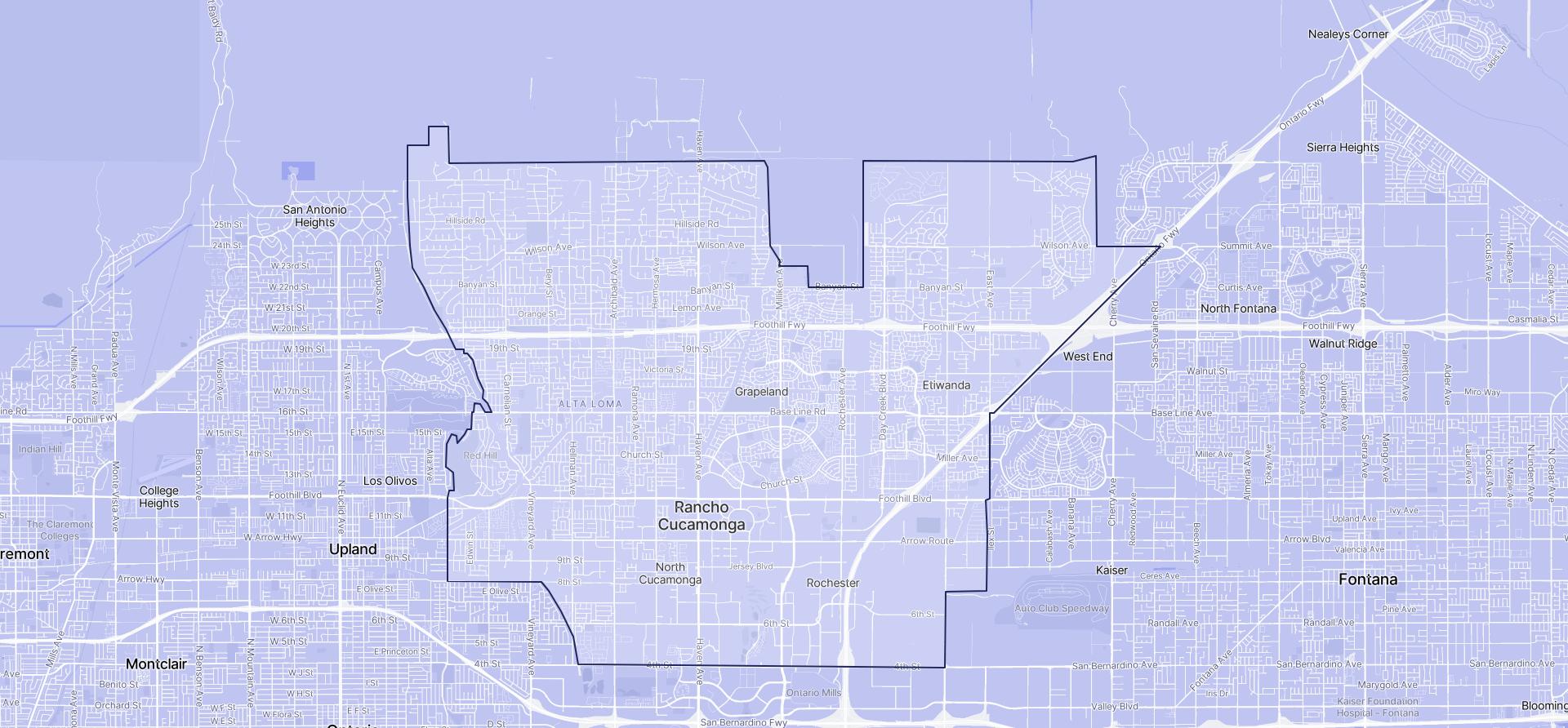 Image of Rancho Cucamonga boundaries on a map.
