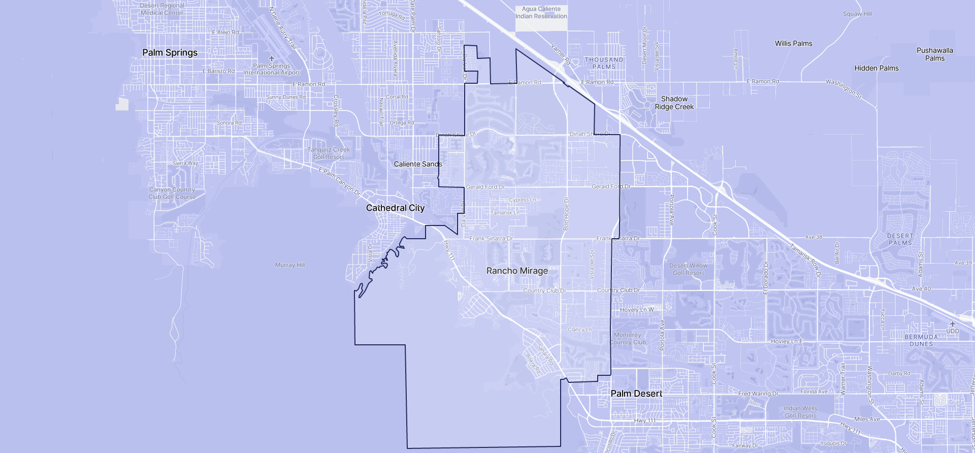 Image of Rancho Mirage boundaries on a map.