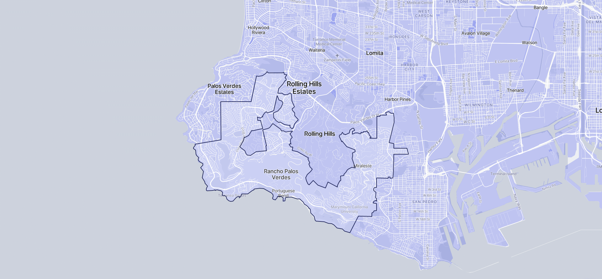 Image of Rancho Palos Verdes boundaries on a map.