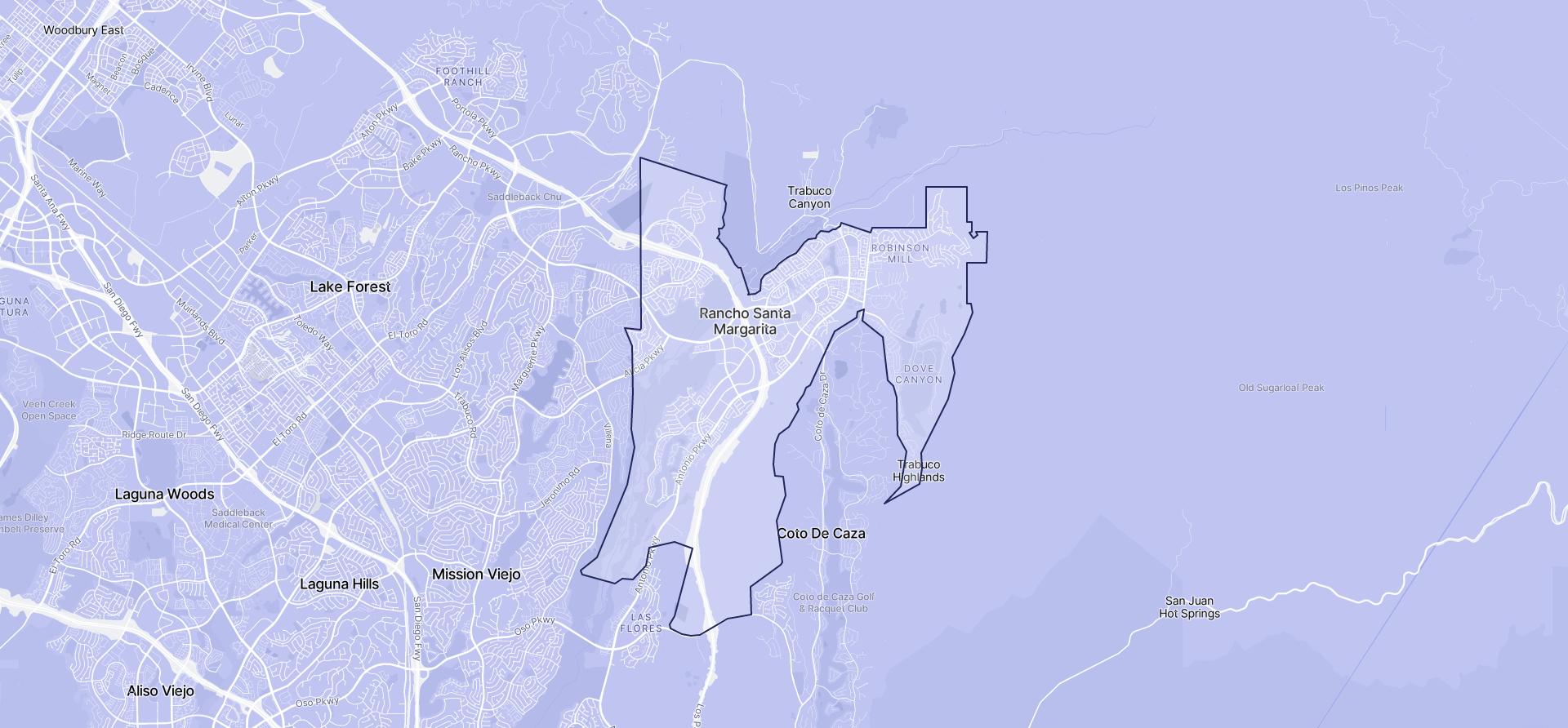 Image of Rancho Santa Margarita boundaries on a map.