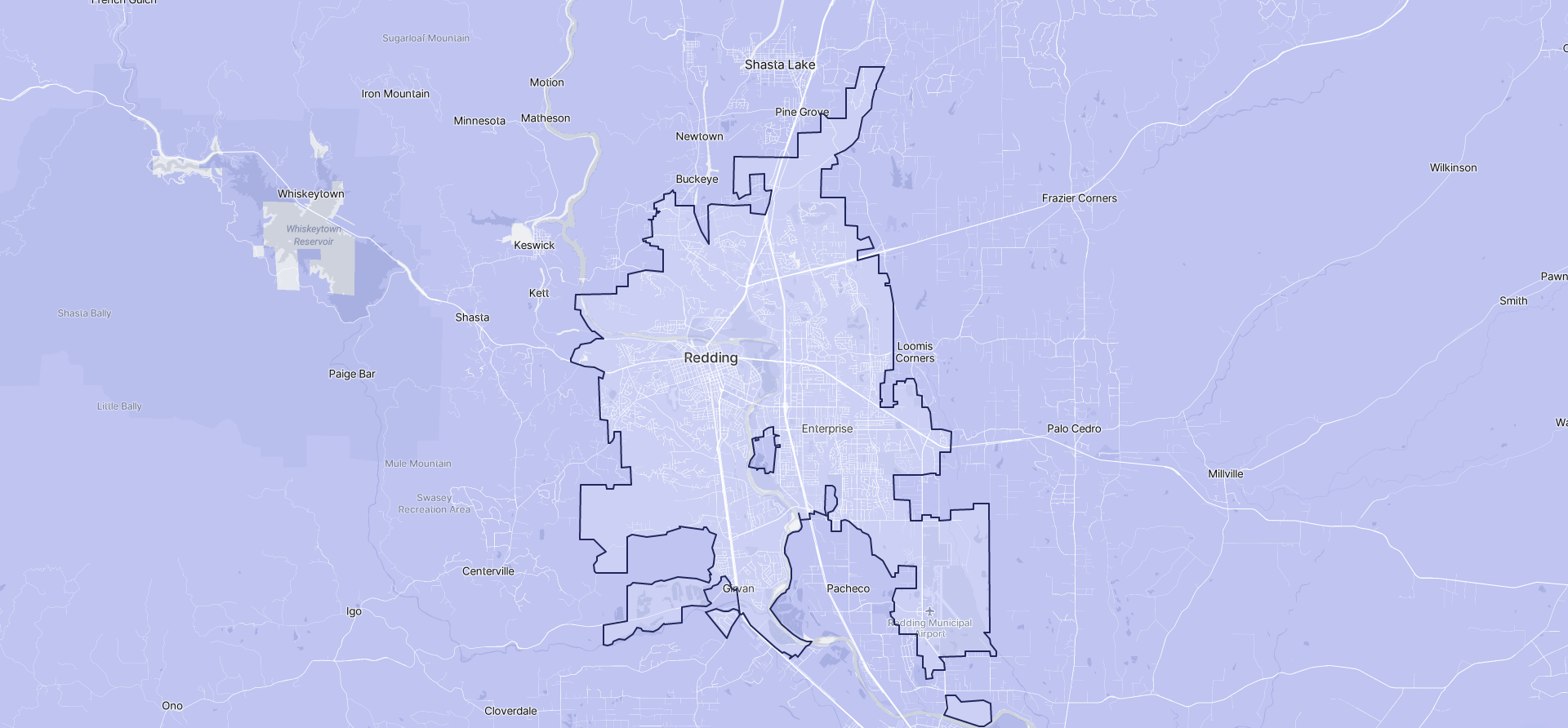 Image of Redding boundaries on a map.