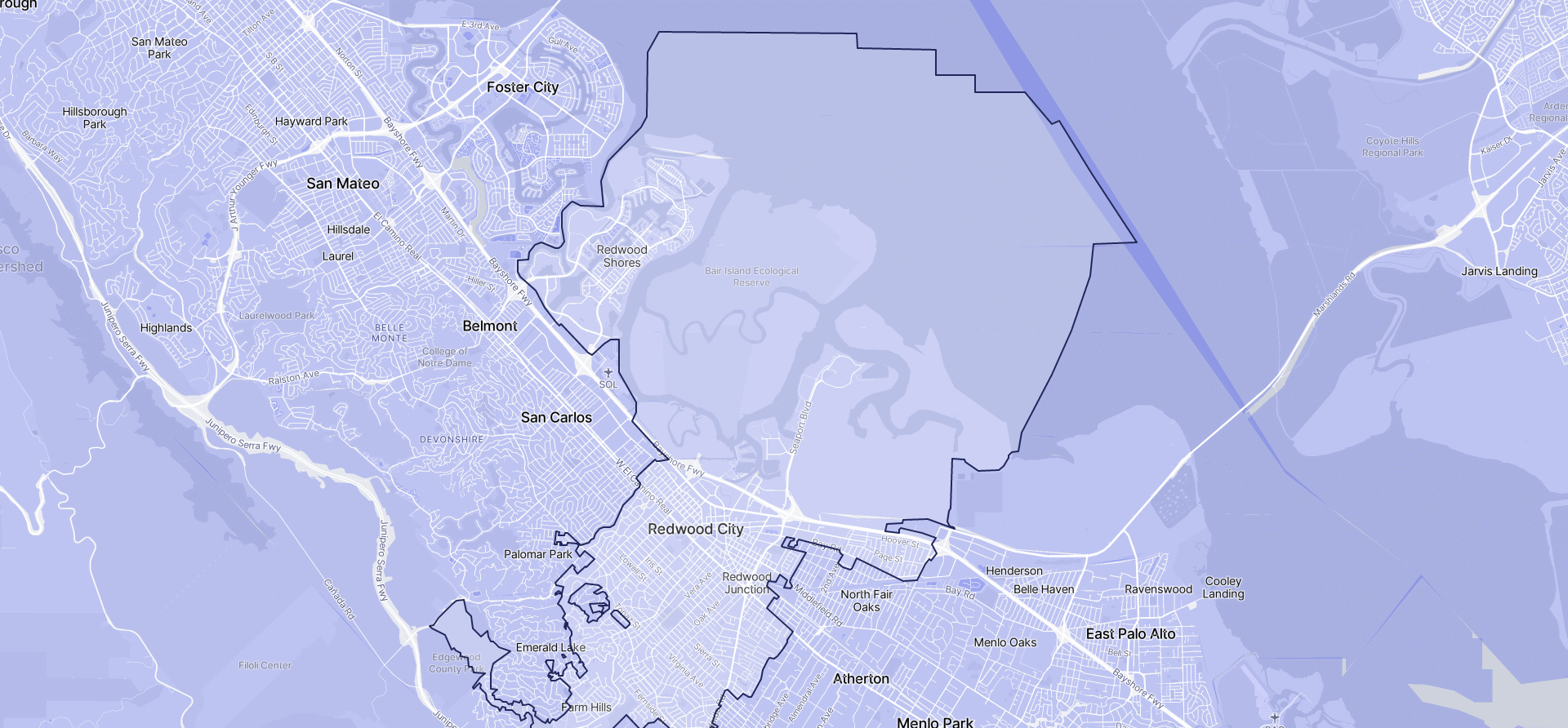 Image of Redwood City boundaries on a map.