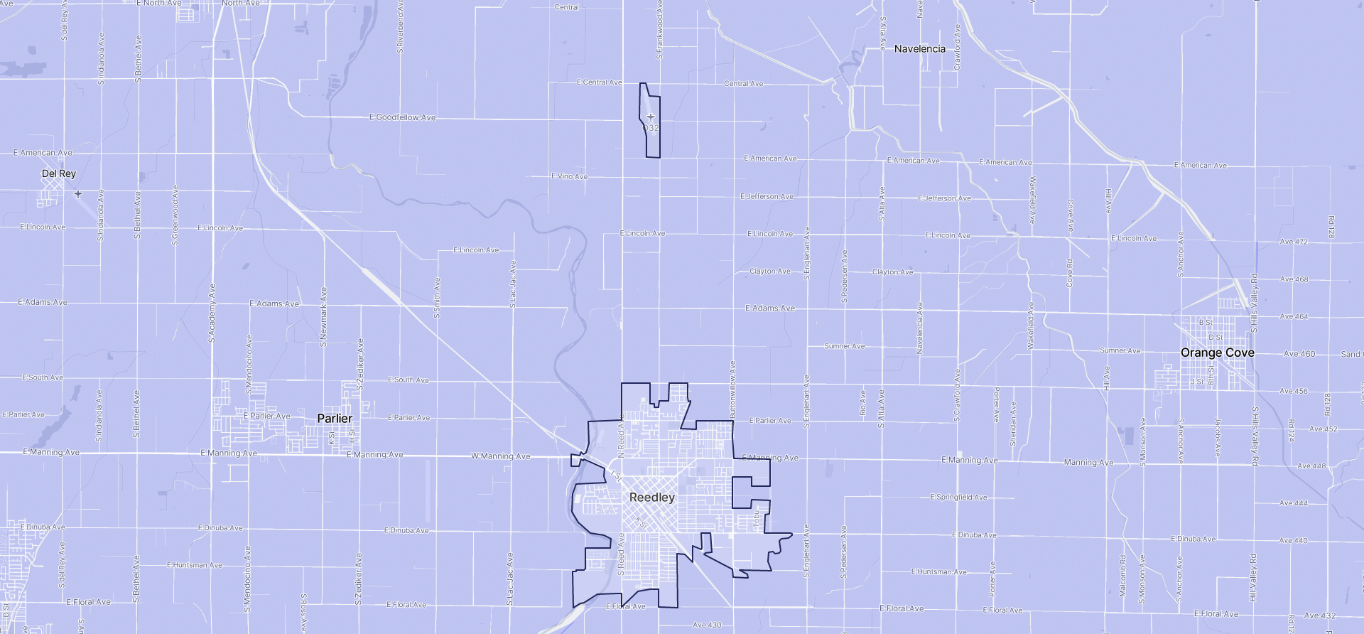 Image of Reedley boundaries on a map.