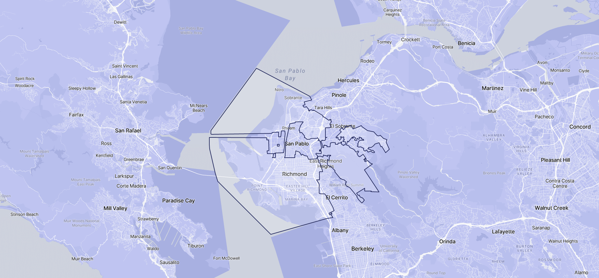 Image of Richmond boundaries on a map.