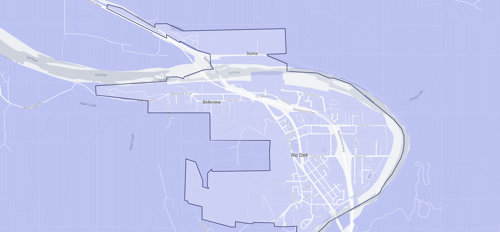 Image of Rio Dell boundaries on a map.