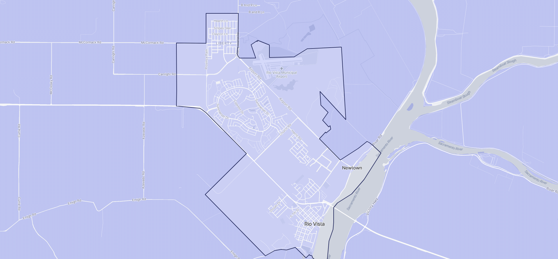 Image of Rio Vista boundaries on a map.