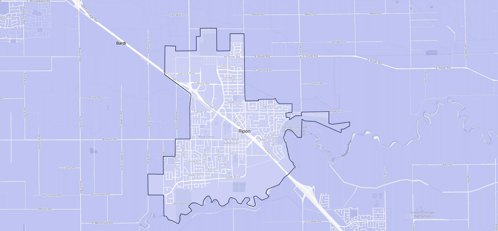 Image of Ripon boundaries on a map.