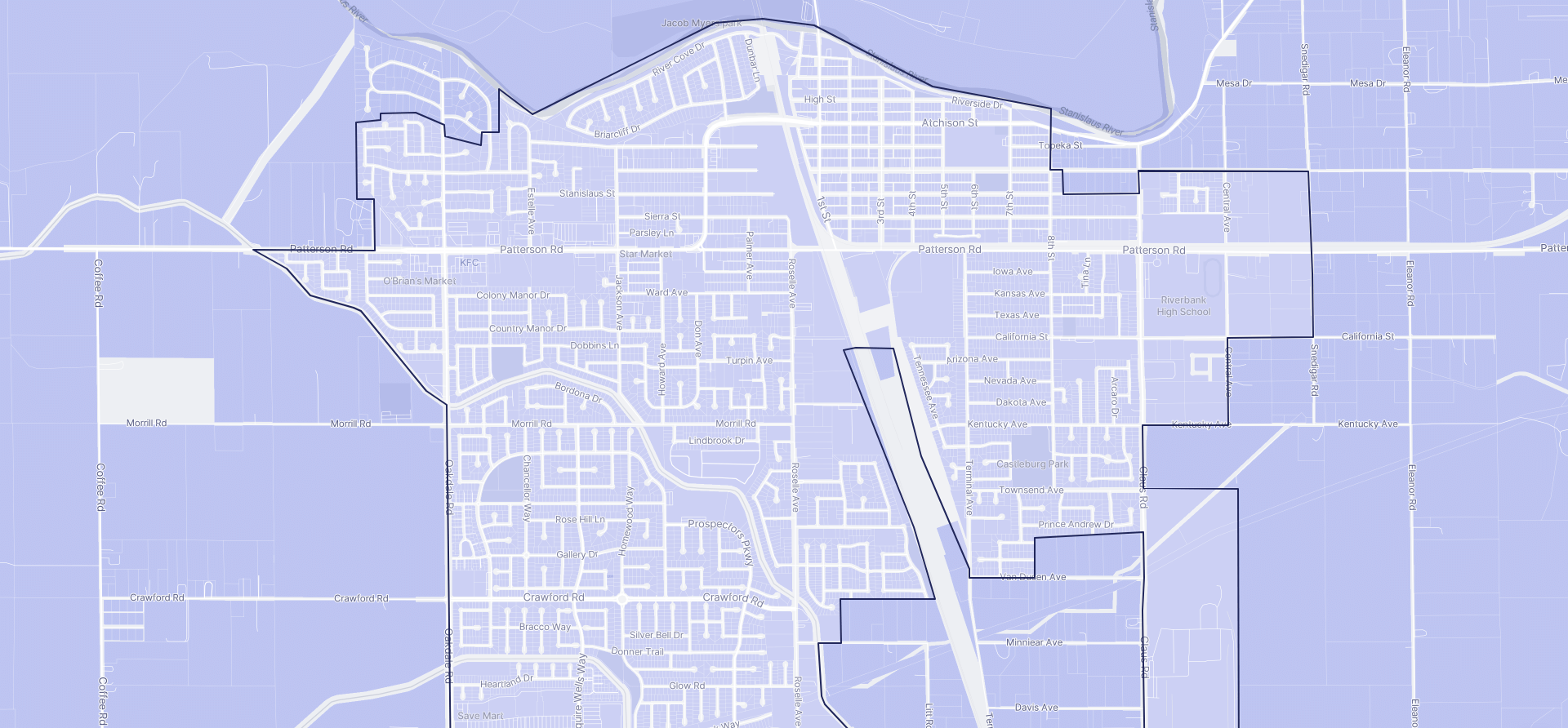 Image of Riverbank boundaries on a map.