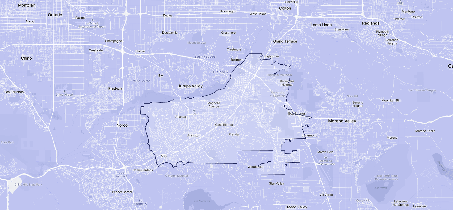 Image of Riverside boundaries on a map.
