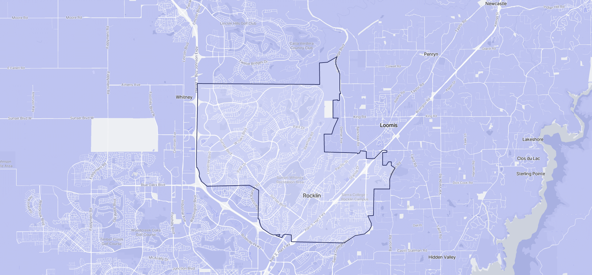Image of Rocklin boundaries on a map.