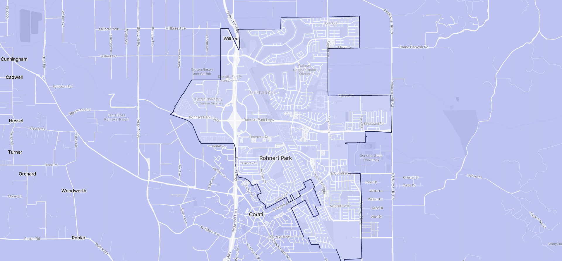 Image of Rohnert Park boundaries on a map.