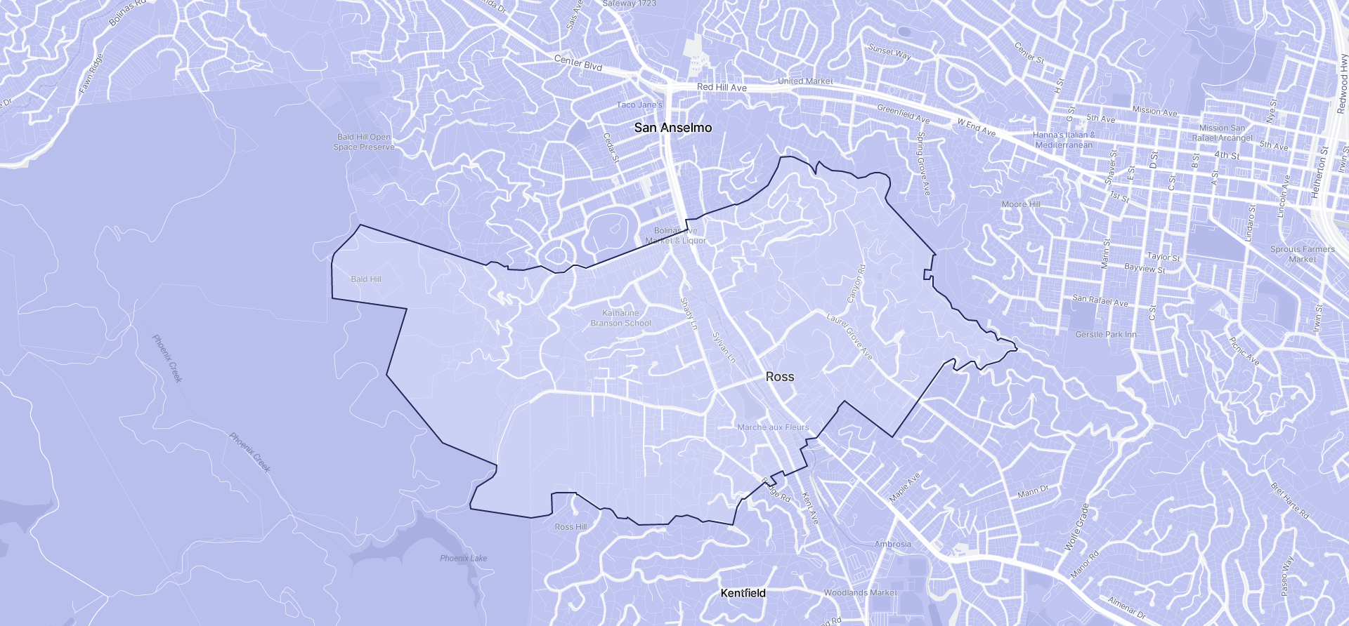 Image of Ross boundaries on a map.