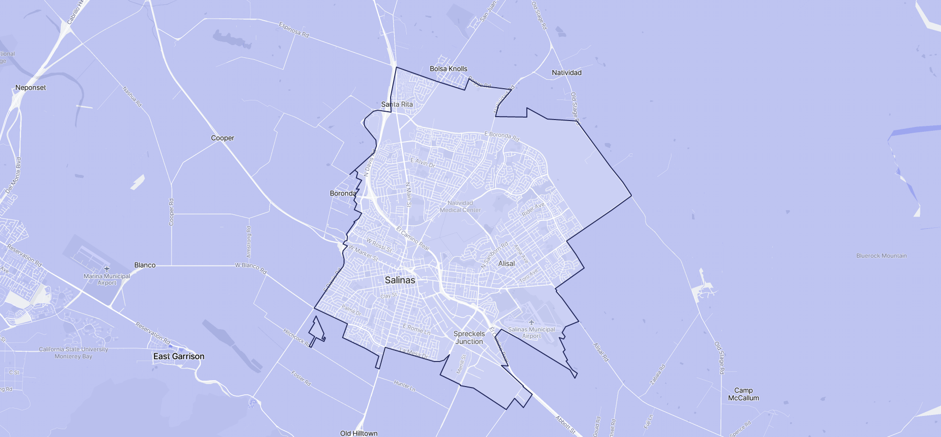 Image of Salinas boundaries on a map.