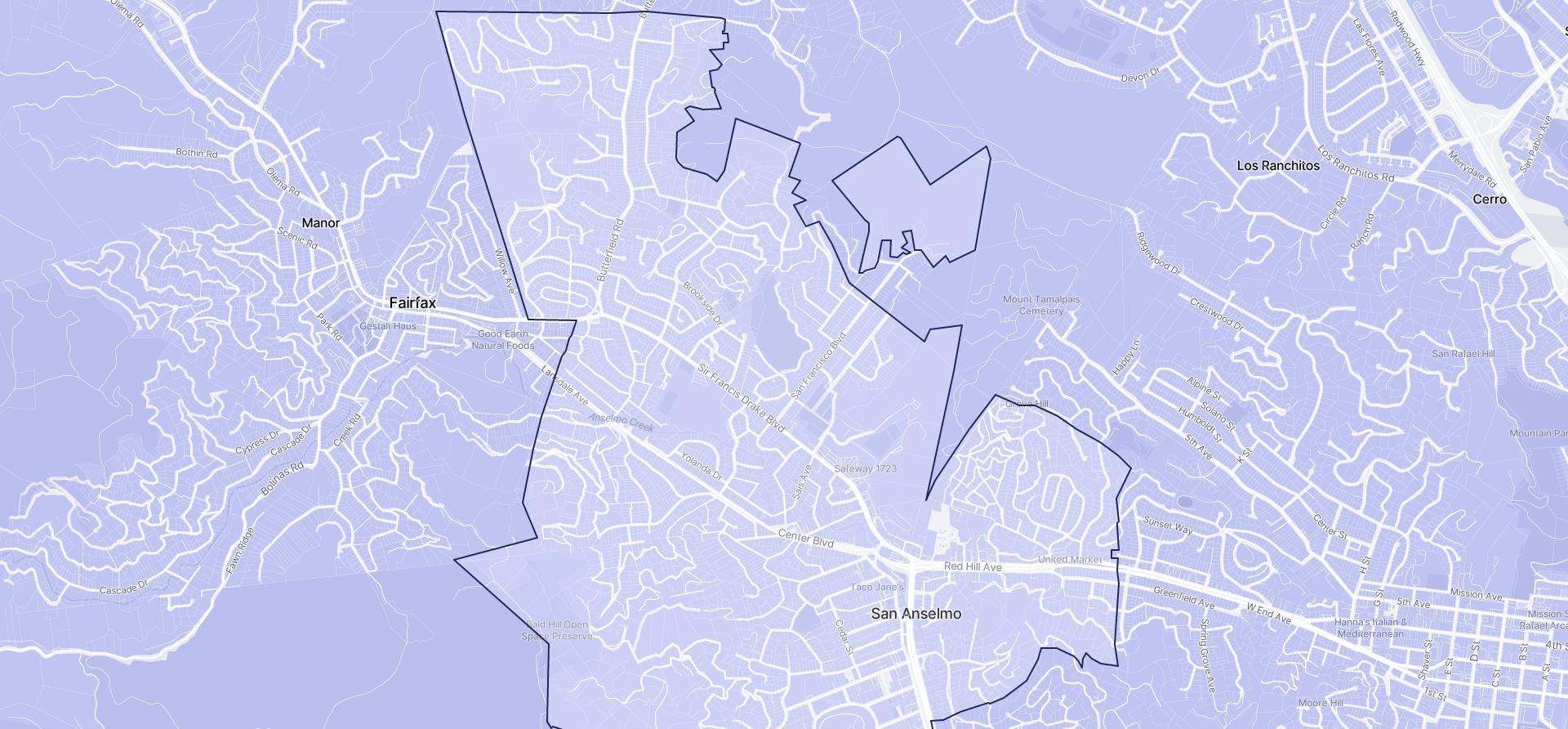 Image of San Anselmo boundaries on a map.