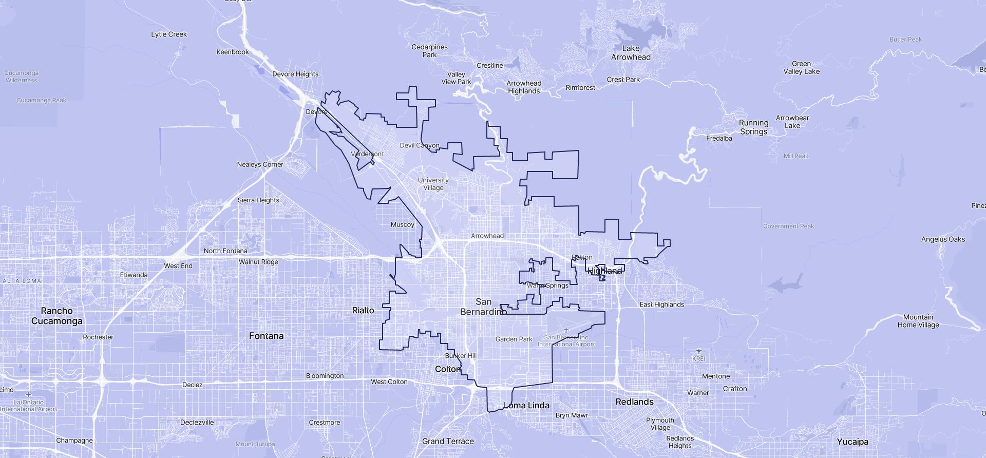 Image of San Bernardino boundaries on a map.