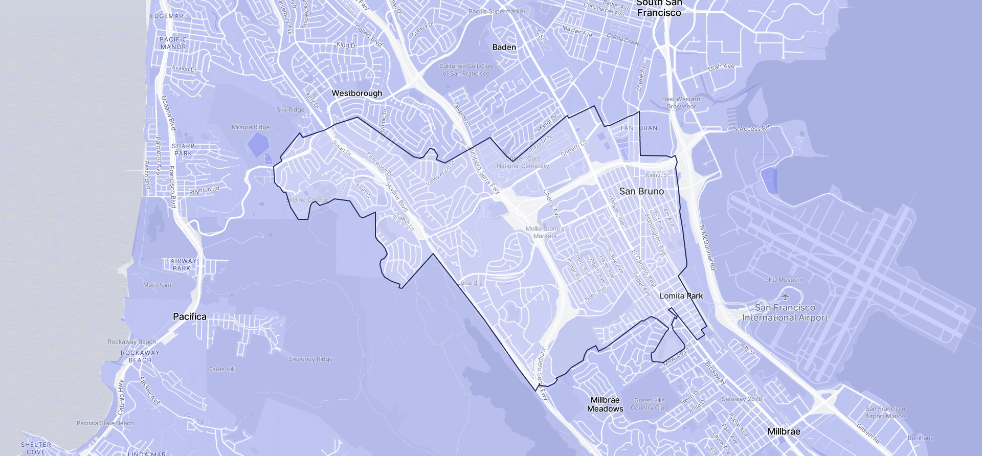 Image of San Bruno boundaries on a map.