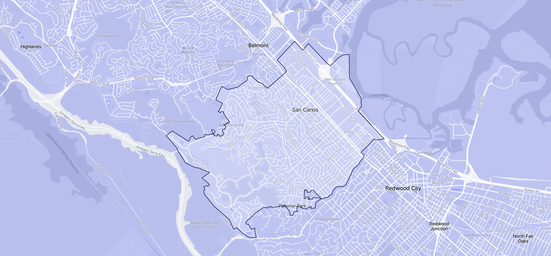 Image of San Carlos boundaries on a map.
