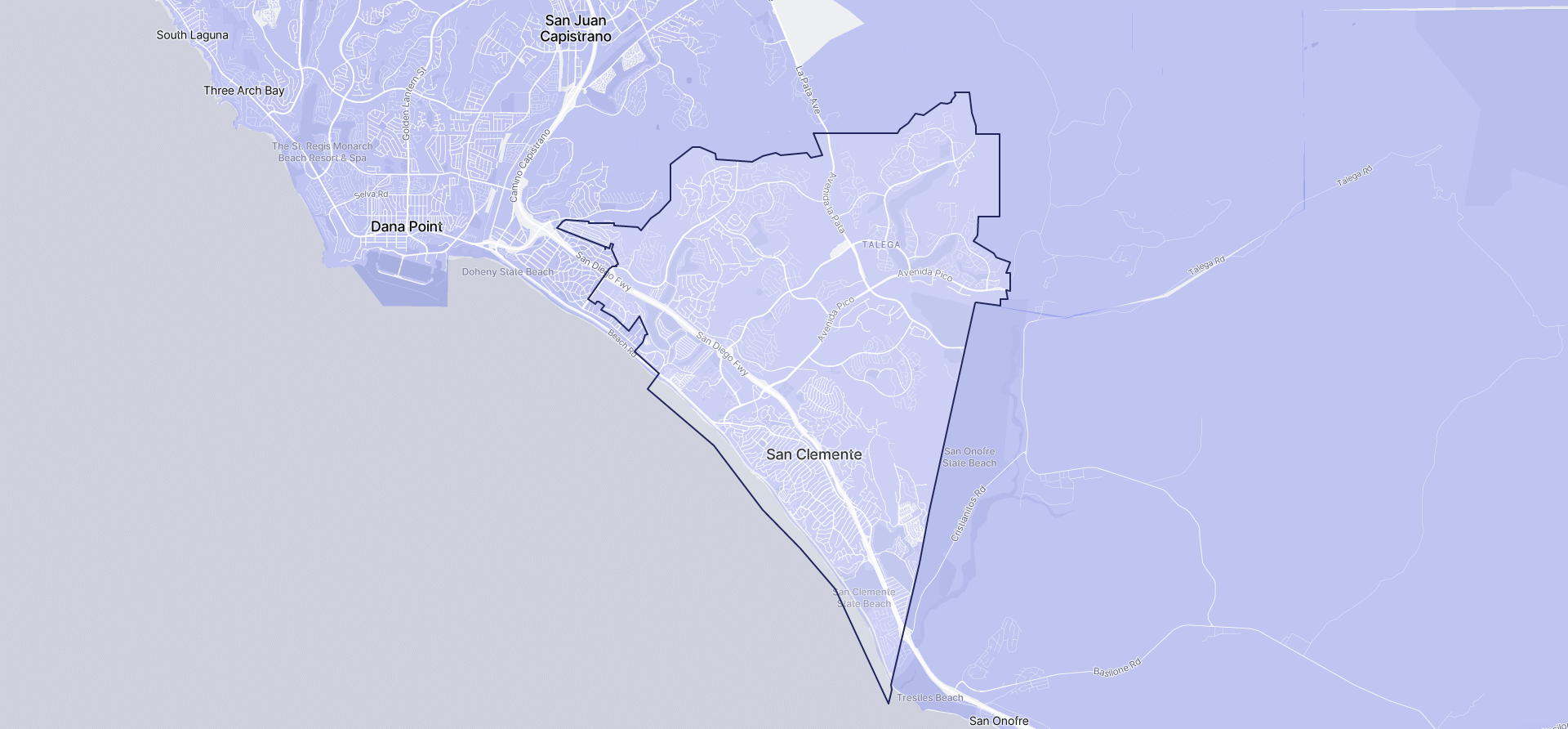 Image of San Clemente boundaries on a map.