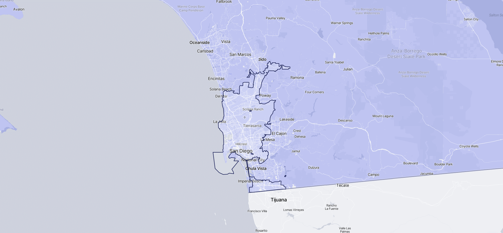 Image of San Diego boundaries on a map.