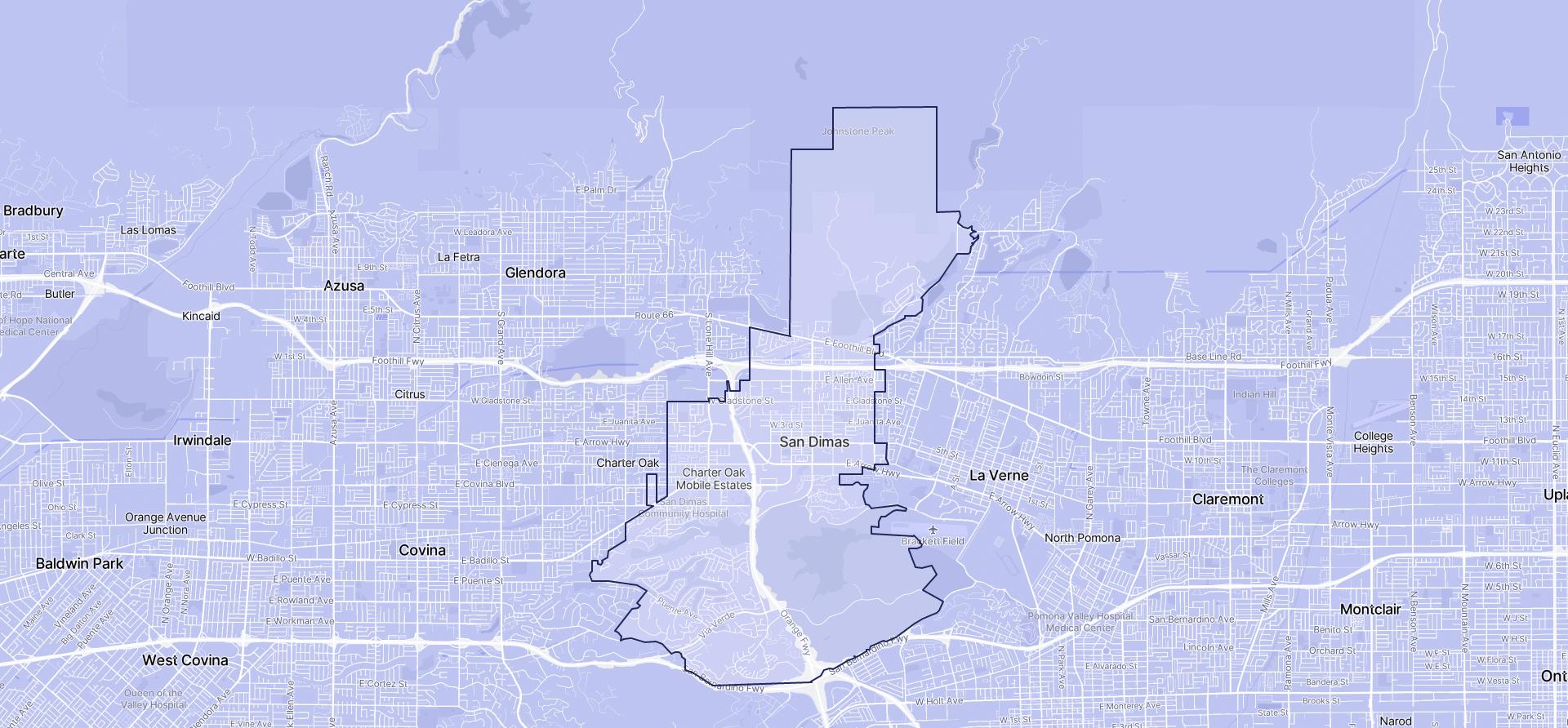 Image of San Dimas boundaries on a map.