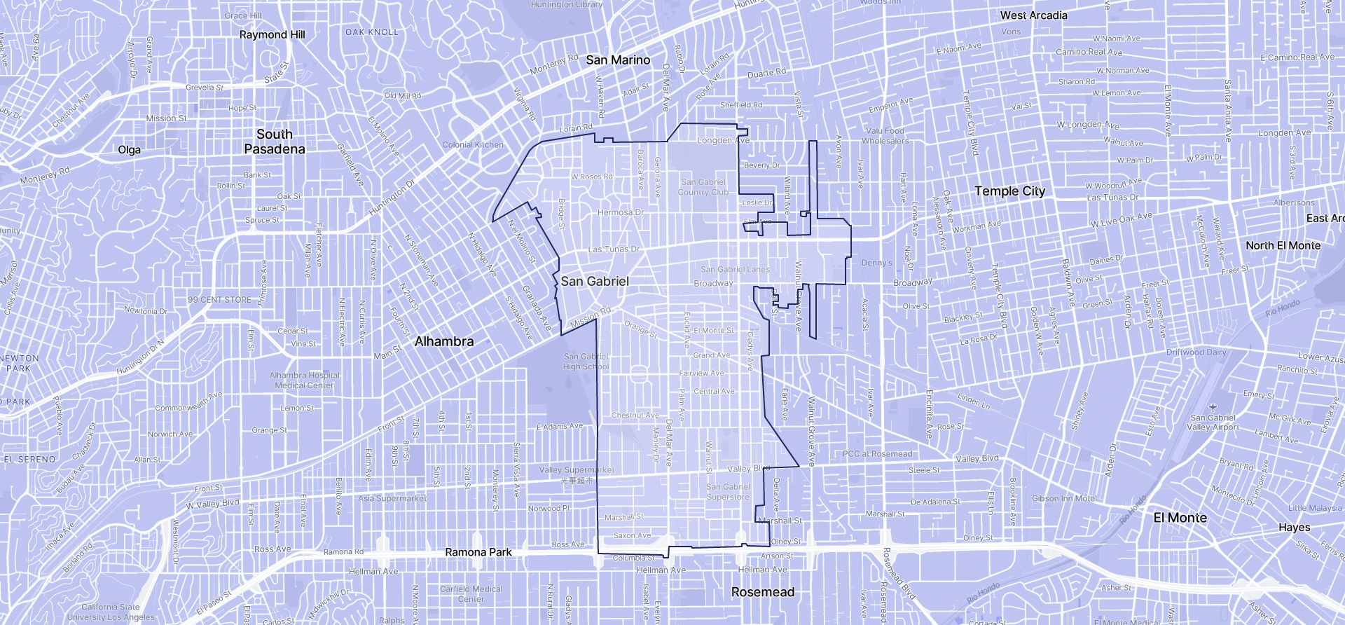 Image of San Gabriel boundaries on a map.