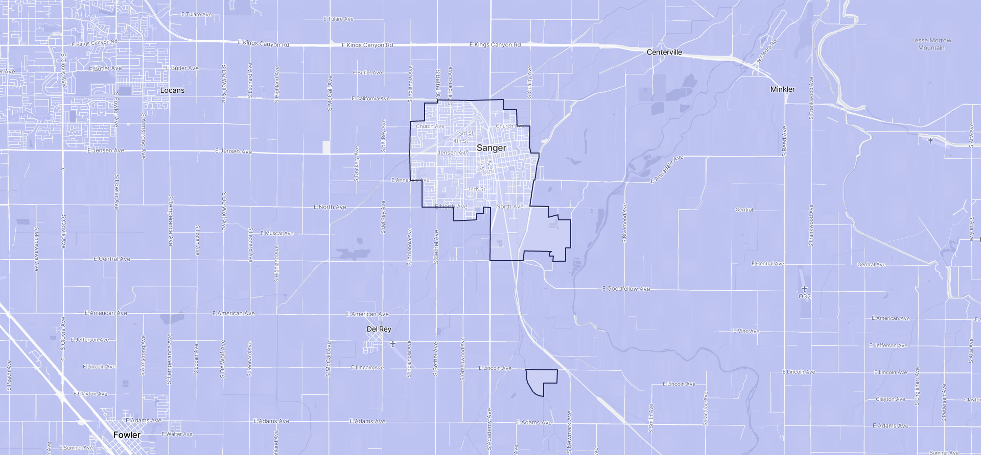 Image of Sanger boundaries on a map.