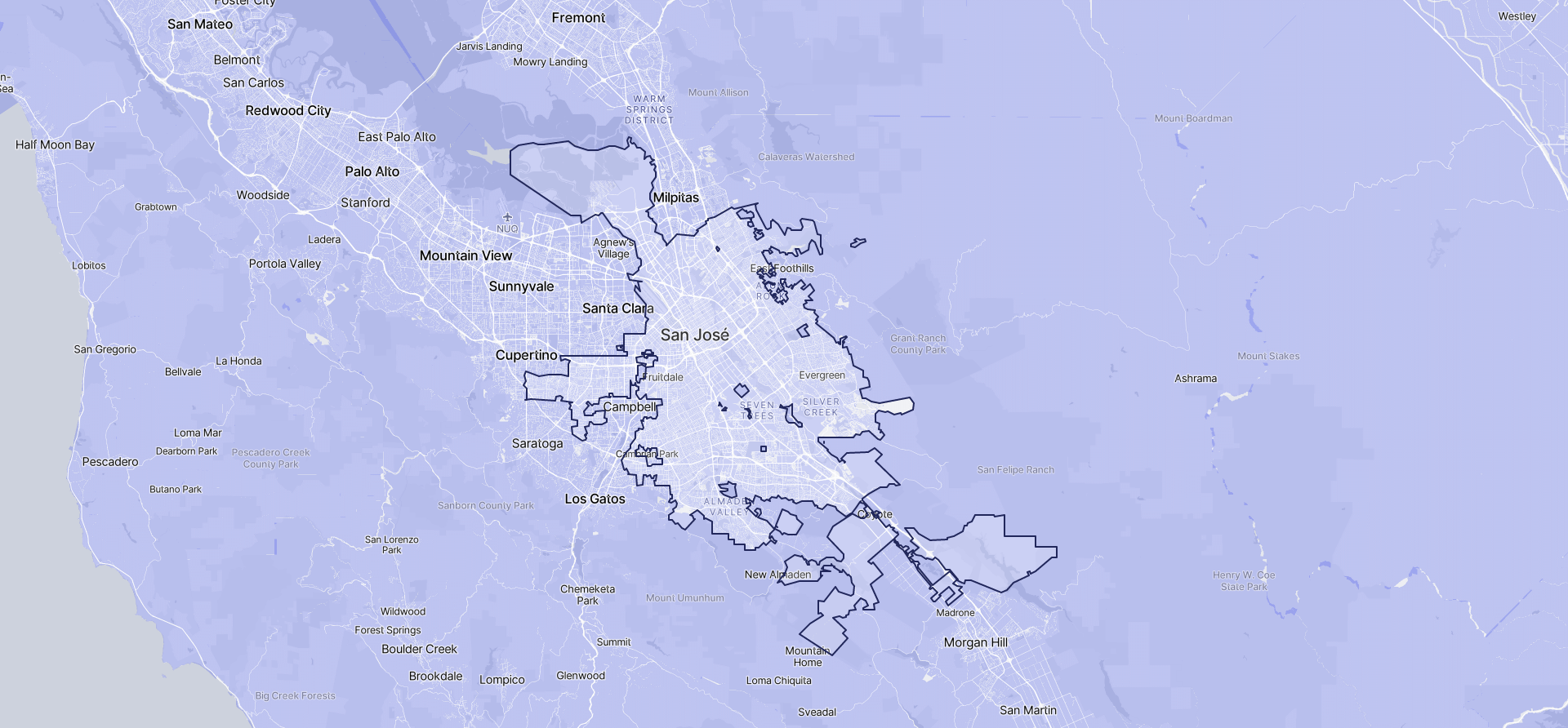 Image of San Jose boundaries on a map.