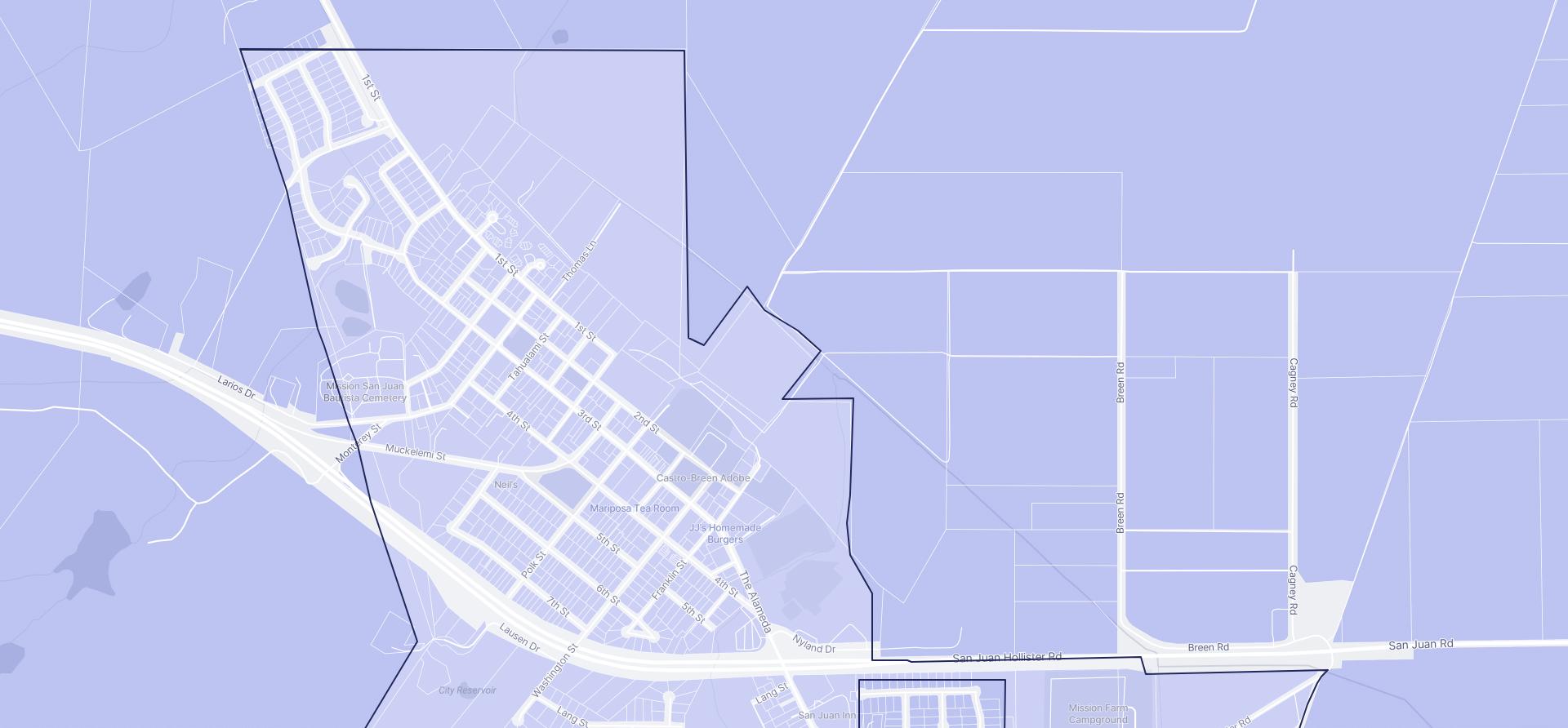Image of San Juan Bautista boundaries on a map.