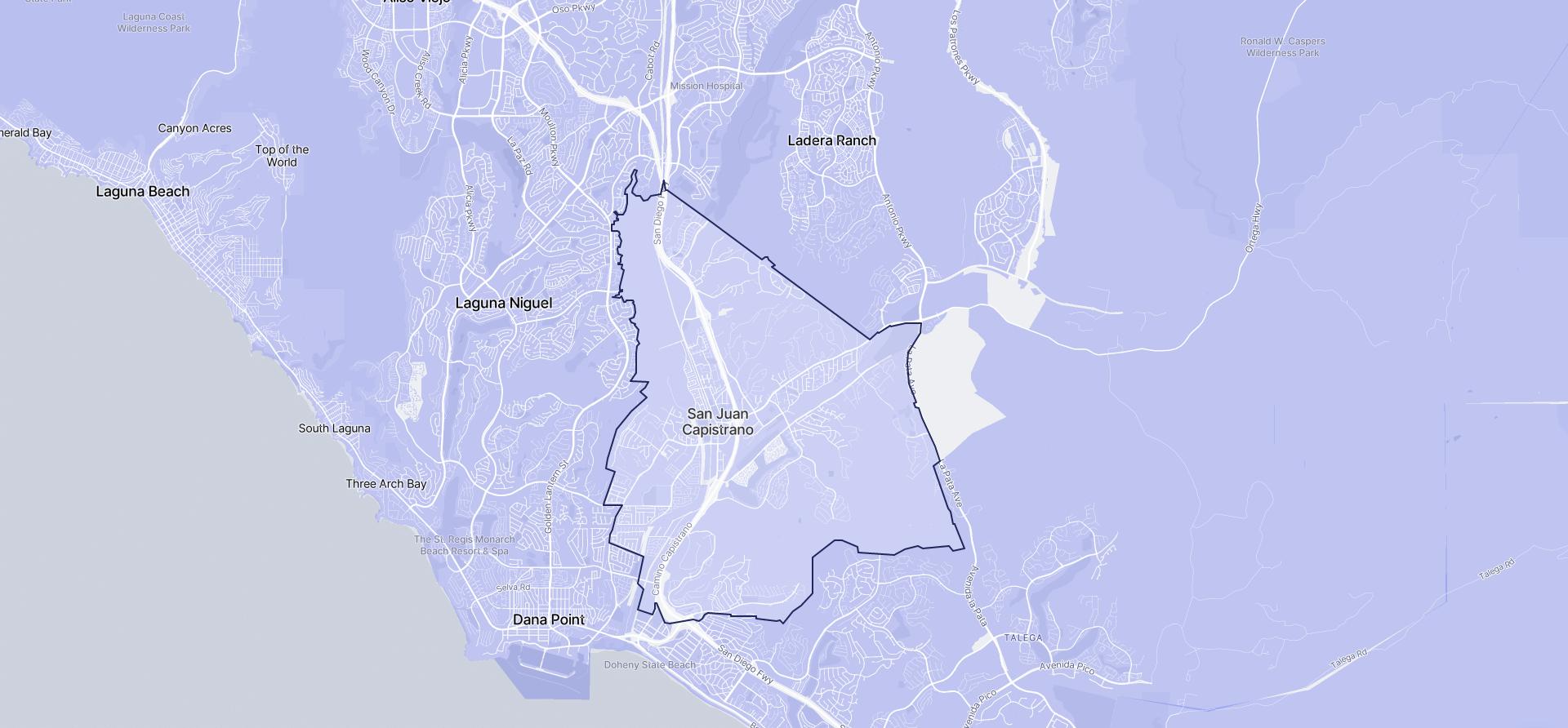 Image of San Juan Capistrano boundaries on a map.
