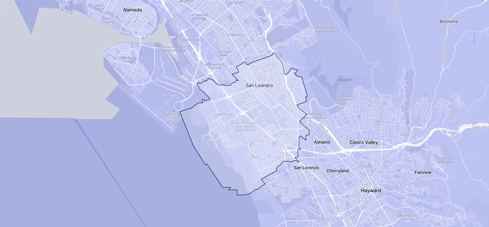 Image of San Leandro boundaries on a map.