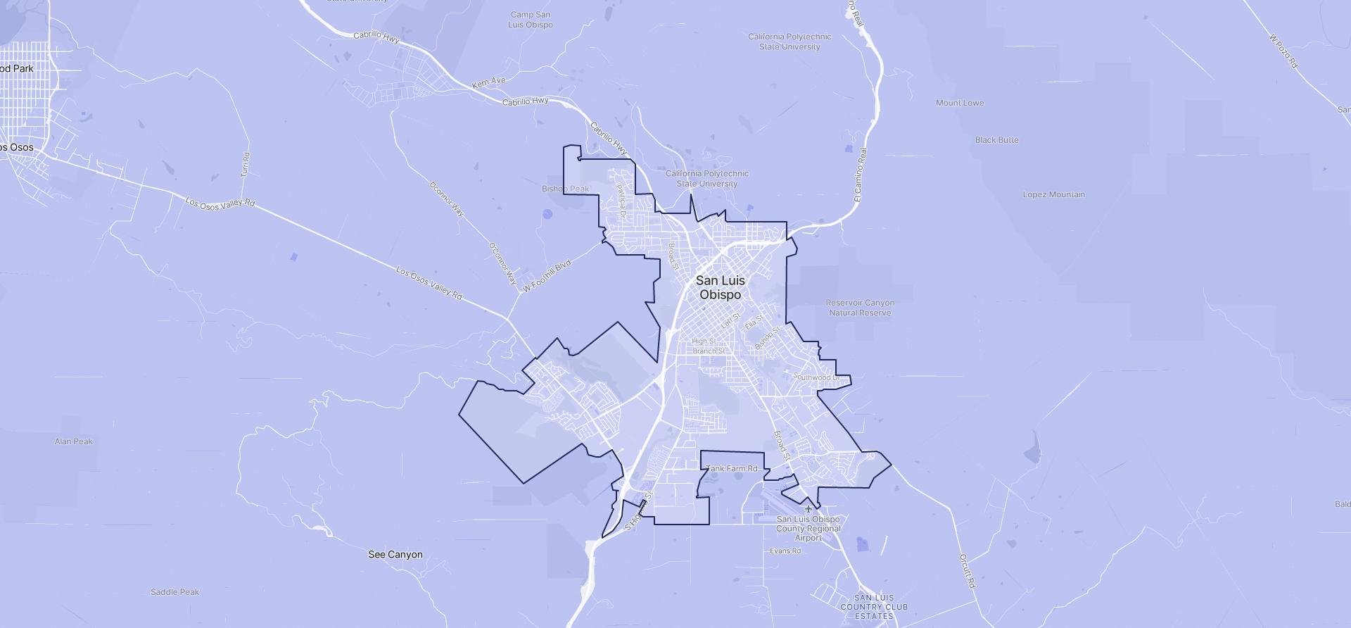 Image of San Luis Obispo boundaries on a map.