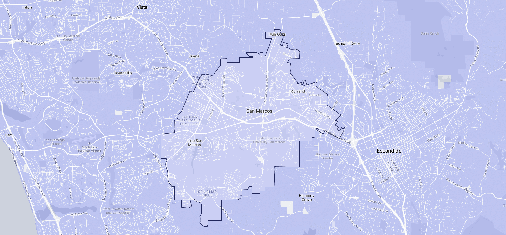 Image of San Marcos boundaries on a map.