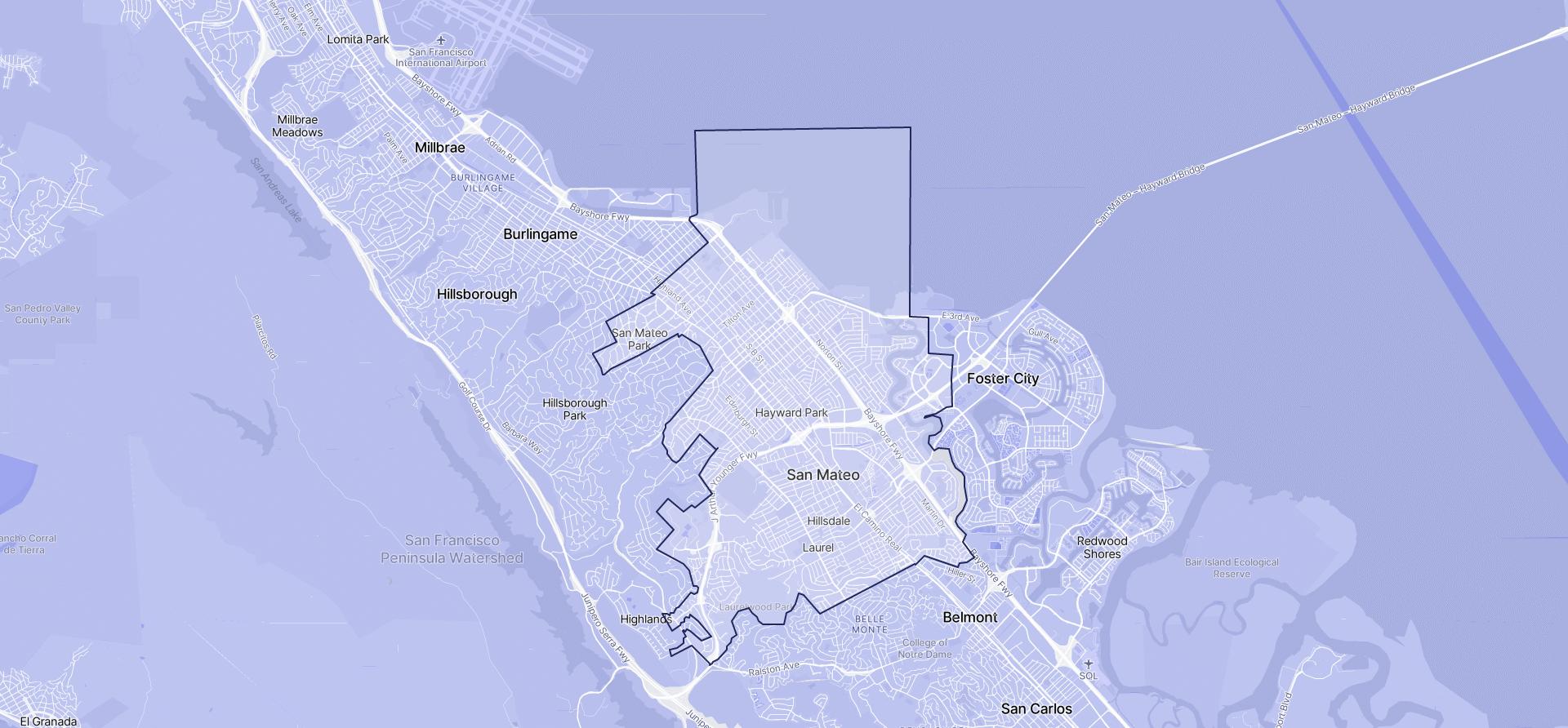 Image of San Mateo boundaries on a map.