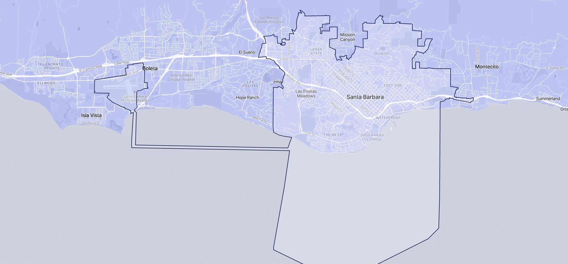 Image of Santa Barbara boundaries on a map.