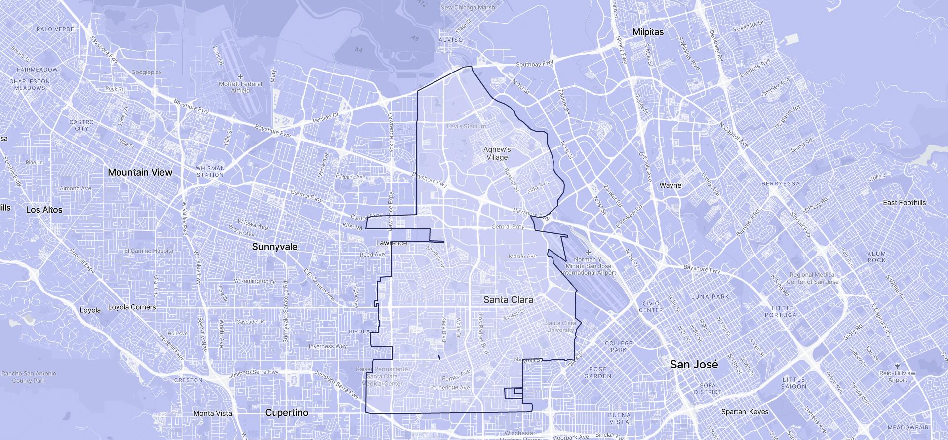 Image of Santa Clara boundaries on a map.