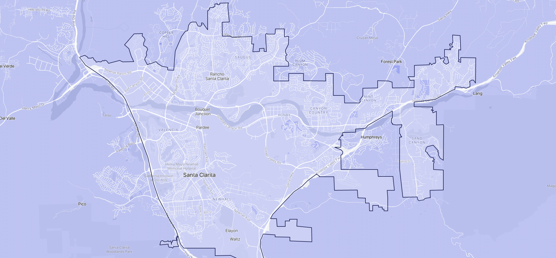 Image of Santa Clarita boundaries on a map.