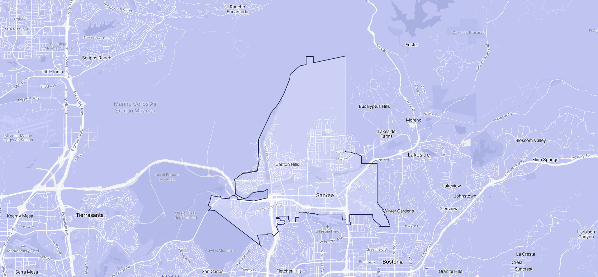 Image of Santee boundaries on a map.