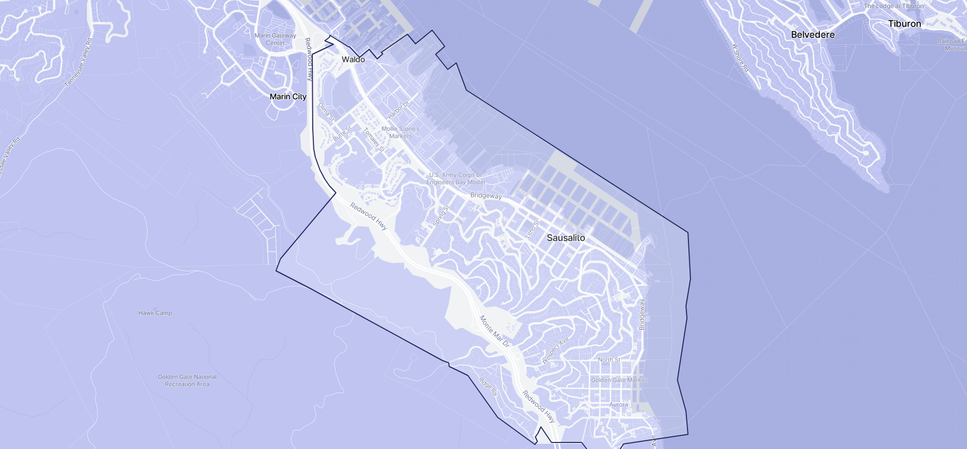 Image of Sausalito boundaries on a map.