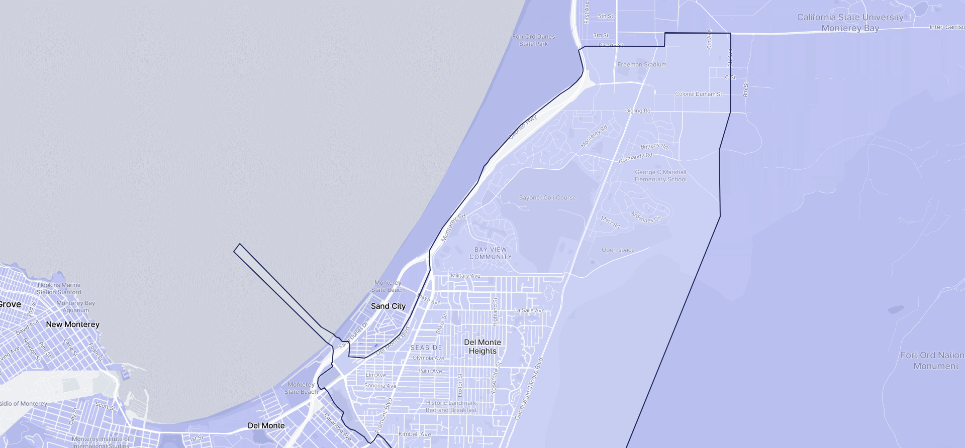 Image of Seaside boundaries on a map.