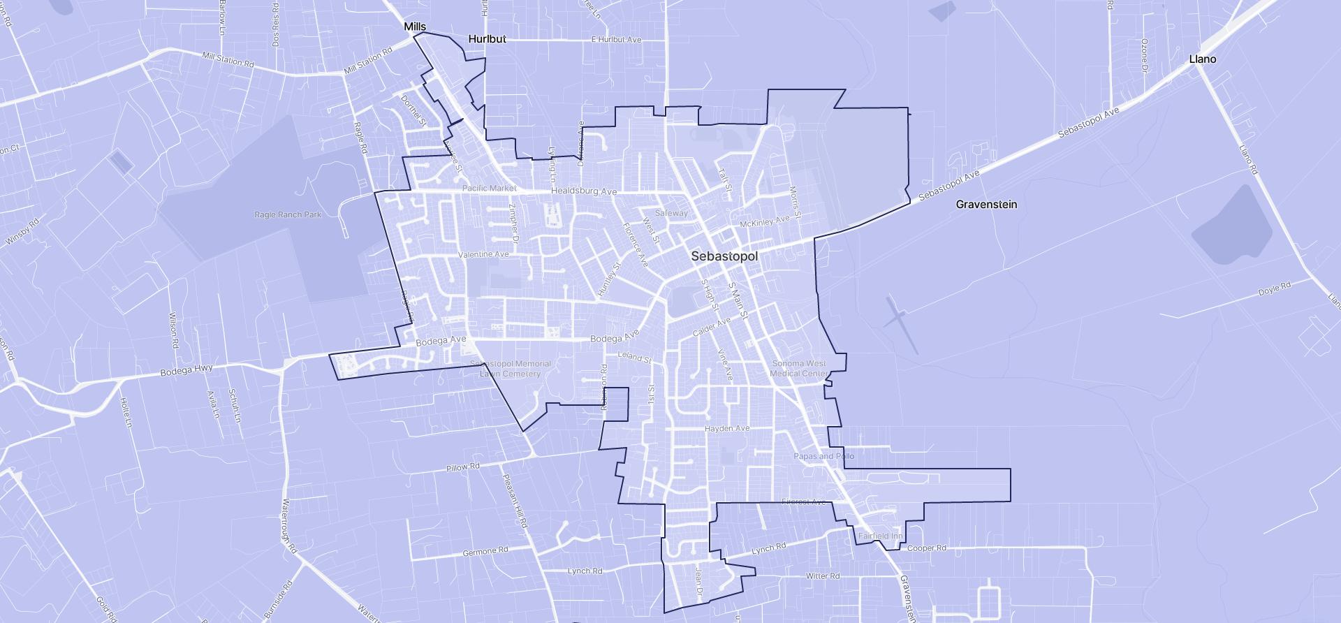 Image of Sebastopol boundaries on a map.