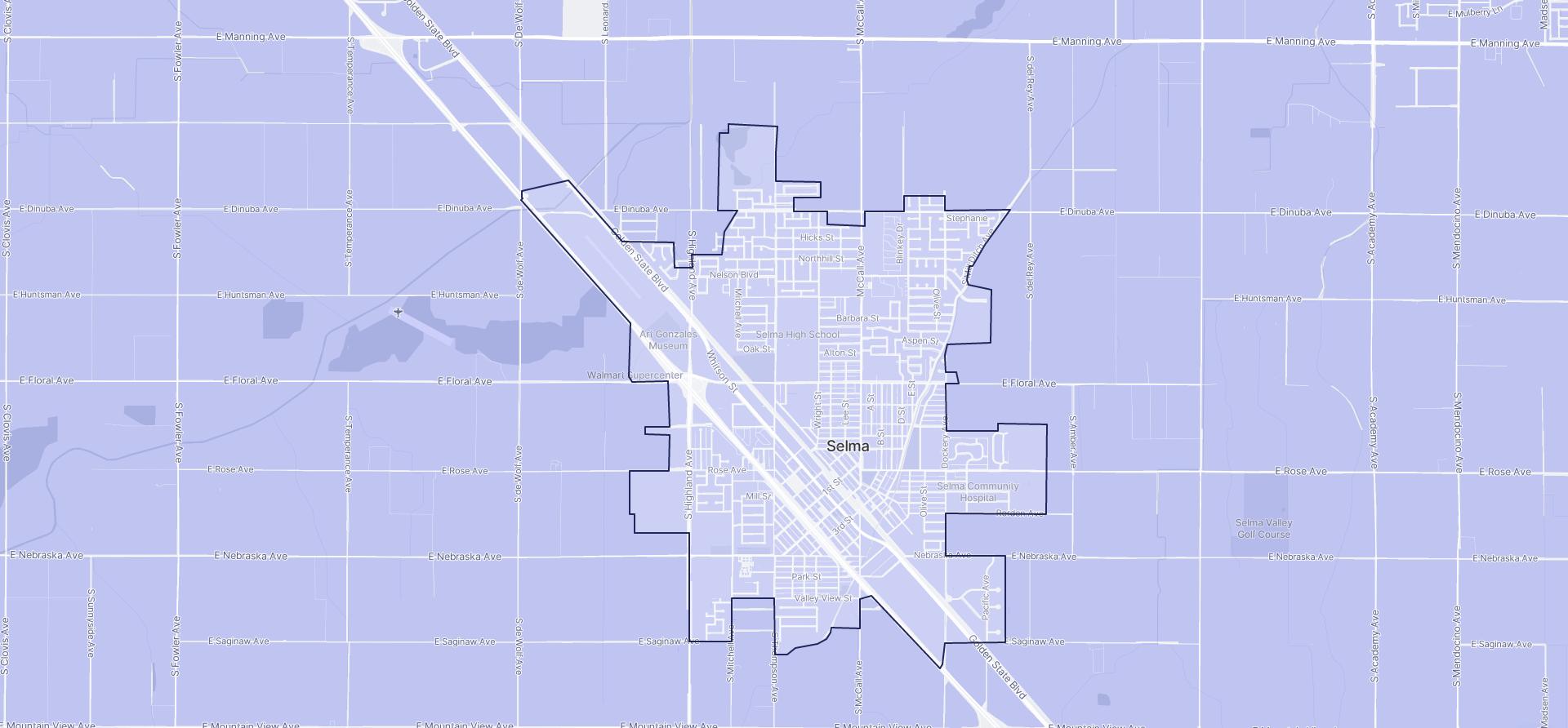 Image of Selma boundaries on a map.