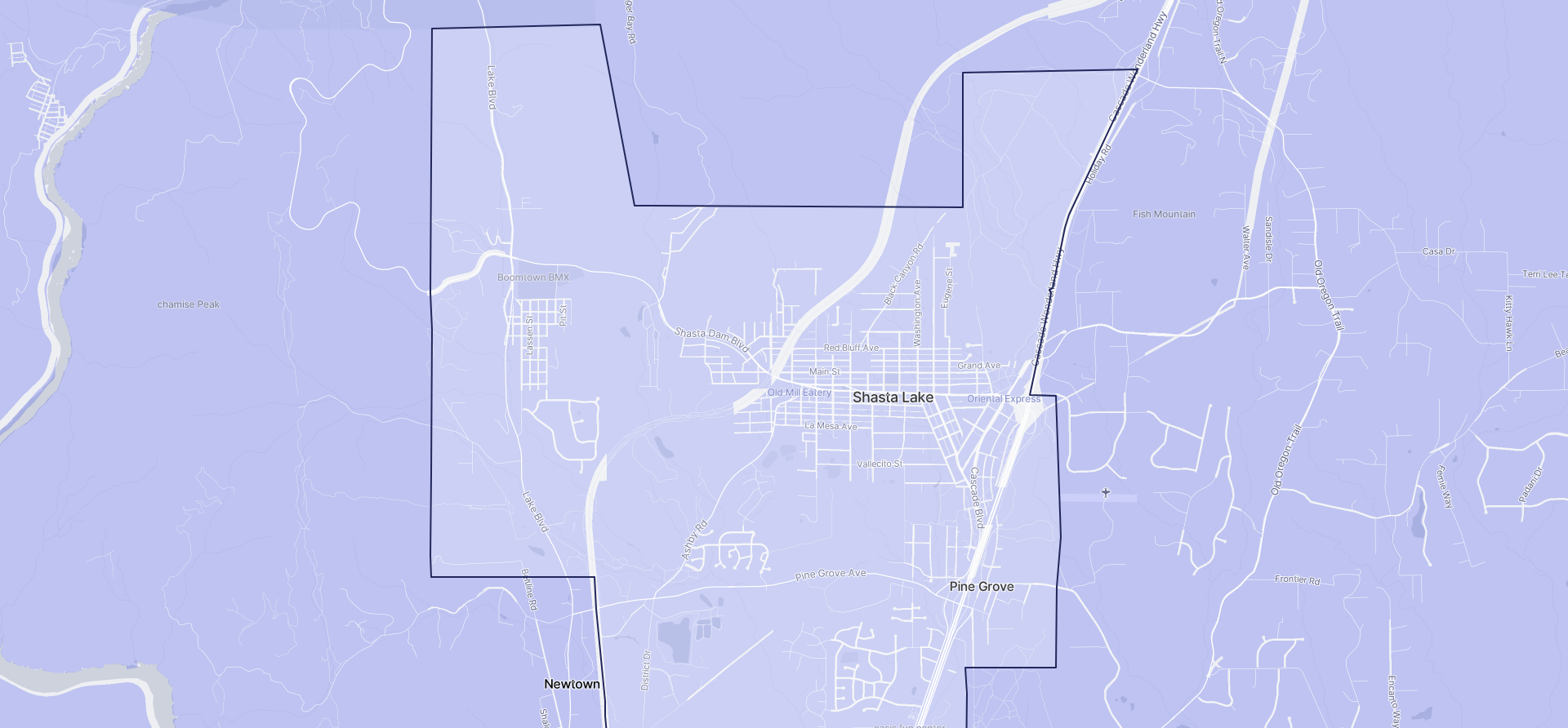 Image of Shasta Lake boundaries on a map.