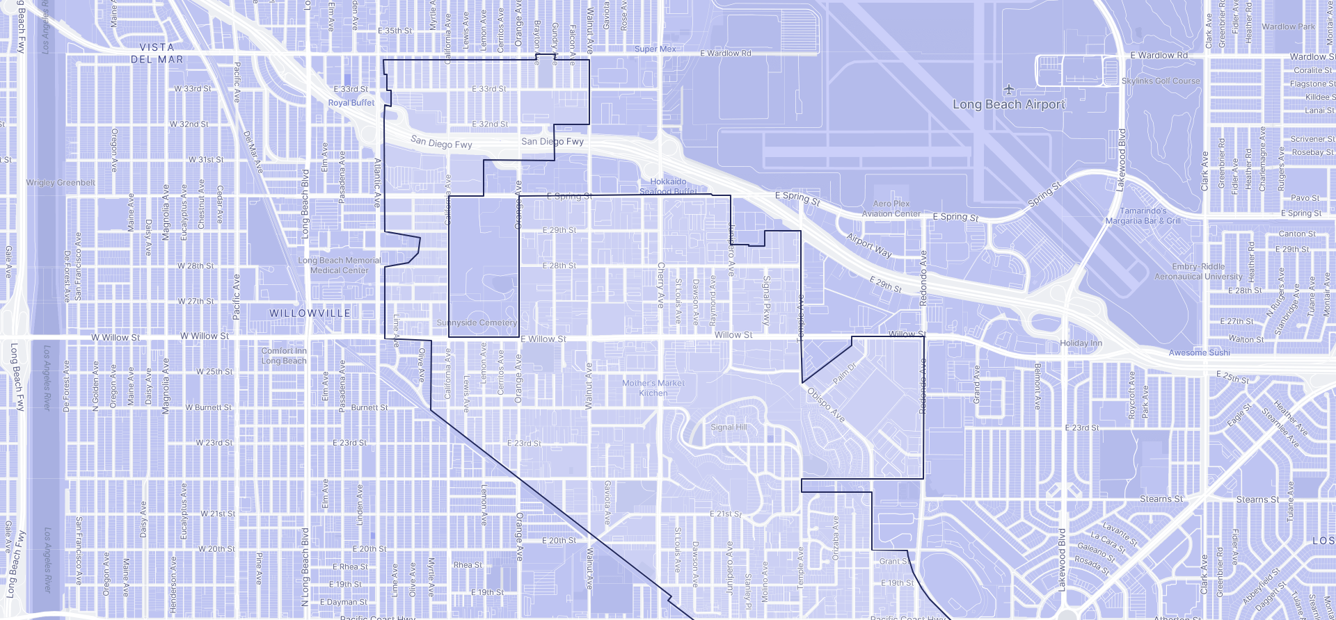 Image of Signal Hill boundaries on a map.