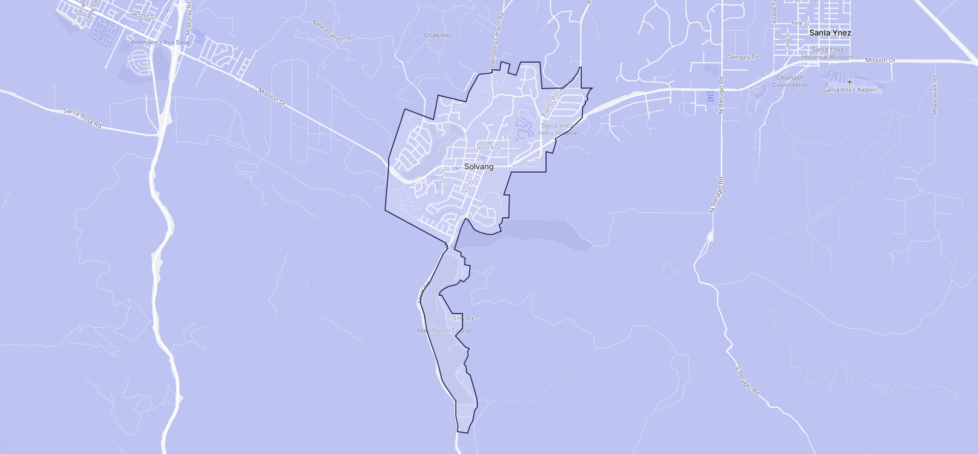 Image of Solvang boundaries on a map.