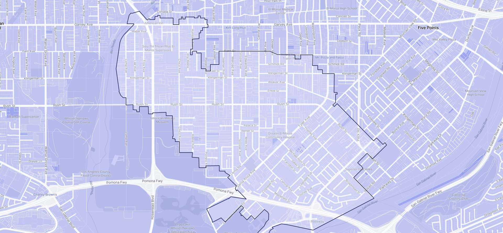 Image of South El Monte boundaries on a map.