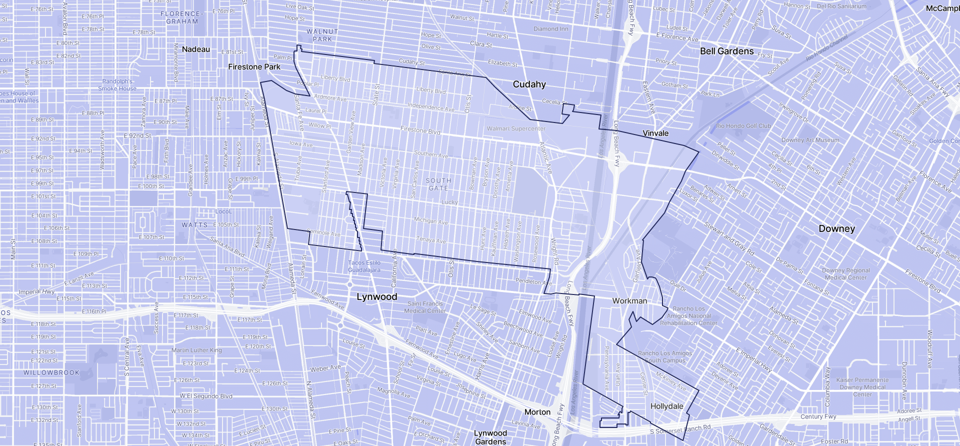 Image of South Gate boundaries on a map.