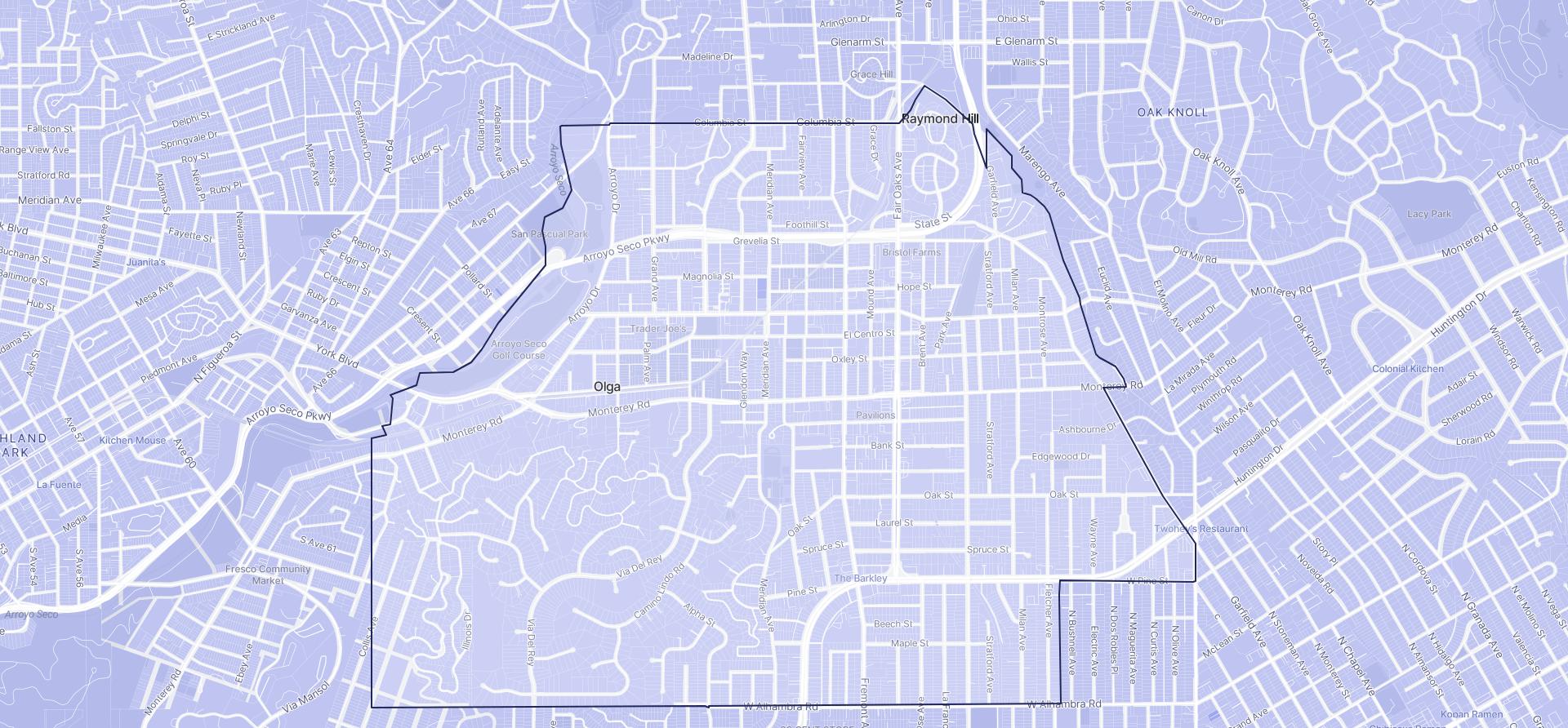 Image of South Pasadena boundaries on a map.